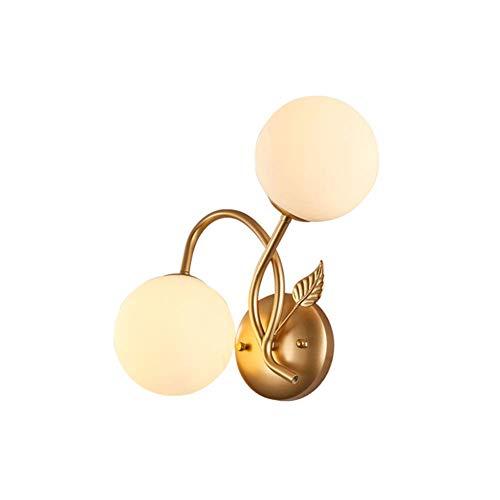 HTZ-M Lámpara de Pared Retro LED, lámpara de Pared de Doble Cabeza de Vidrio de Hierro Forjado Creativo nórdico E27, para Sala de Estar, Dormitorio, Pasillo, balcón, mesita de Noche de Hotel