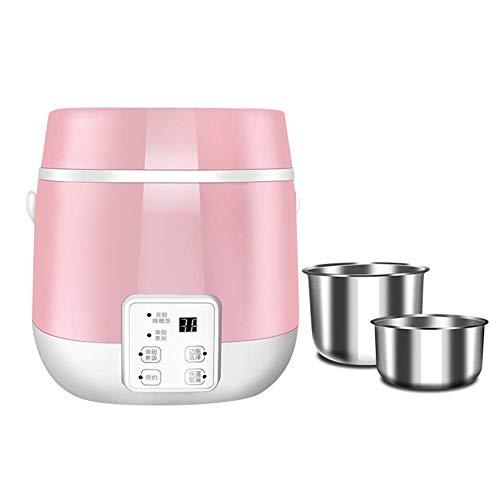 Dljyy 1.2L Rice Cooker Fodera dell'Acciaio Inossidabile Antiaderente Multifunzionale appuntamento Calore Conservazione Rice Funzione for Un Massimo di 2 Persone Dormitorio Ufficio (Color : Pink)