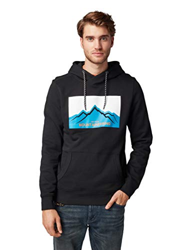 TOM TAILOR Herren Strick & Sweatshirts Sweatshirt mit Stehkragen und Print Black,M