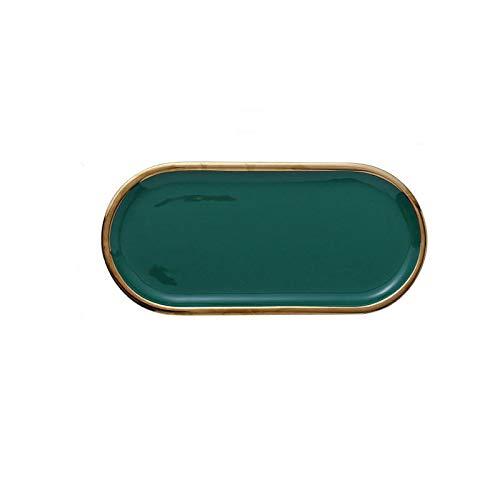 Placa de cerámica de mármol Placas ovaladas creativas Postres de la placa de almacenamiento de la placa de almacenamiento de la joyería de aromaterapia (verde)
