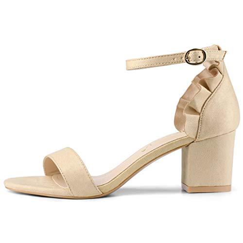 Allegra K Damen Peep Toe Volant Panel Blockasbtz Knöchelriemen Sandalen Nude 39