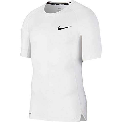 NIKE M NP Top SS Tight Camiseta de Manga Corta, Hombre, White/Black, XL