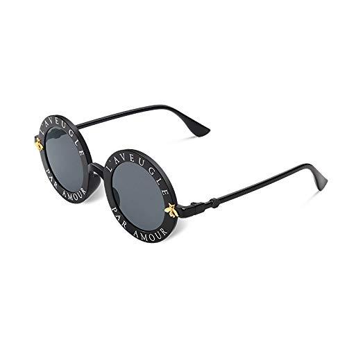 Gafas De Sol Anti-Azules,Gafas Redondas Círculo Abeja Clásico Negro Carta Queridos Hombres Sombras Gafas De Sol Gafas De Protección Uv400 Clásico Para Practicar Deportes Al Aire Libre Conducció