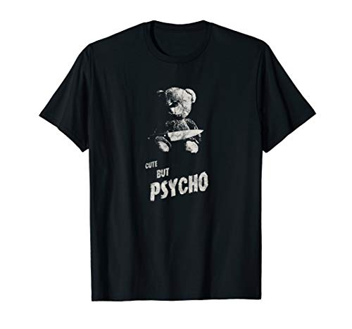 Occult Gothic Grunge Cute But Psycho Teddy Bear Satan Black T-Shirt