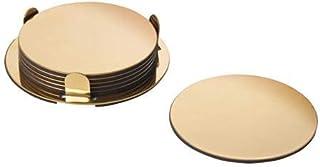 GLATTIS Coasters with holder, brass-colour