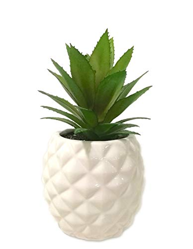 White Porcelain Pineapple Ananas Faux Plant Potted Artificial Succulent 7.8'...
