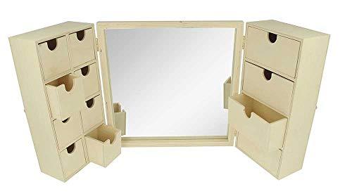 Artemio 14002343 kaptafel van hout met spiegel, beige, 26 x 8 x 26 cm