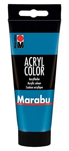 Marabu 12010050056 - Acryl Color cyan 100 ml, cremige Acrylfarbe auf Wasserbasis, schnell trocknend, lichtecht, wasserfest, zum Auftragen mit Pinsel und Schwamm auf Leinwand, Papier und Holz