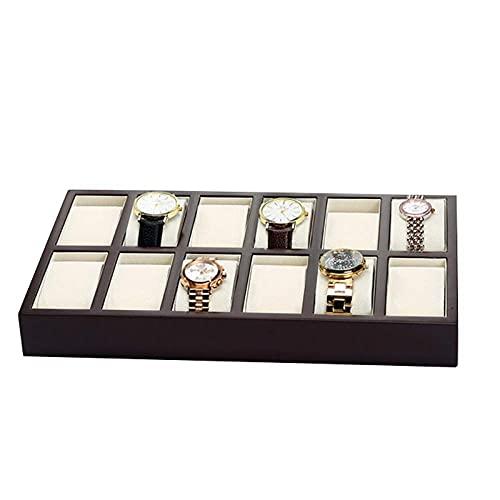 YLB Reloj Box Hombres Joyería Cajas Mujeres Regalo de Lujo Pintura de Madera Joyería 12 Bandeja de visualización de Almacenamiento 35 * 20 * 4 cm