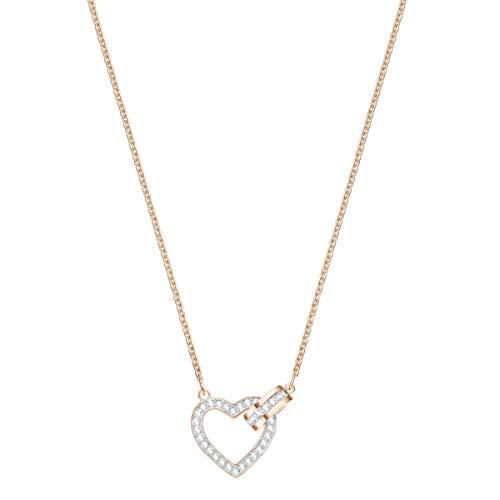 Swarovski Lovely Halskette für Frauen, weißes Kristall, rotgold glänzendes Finish