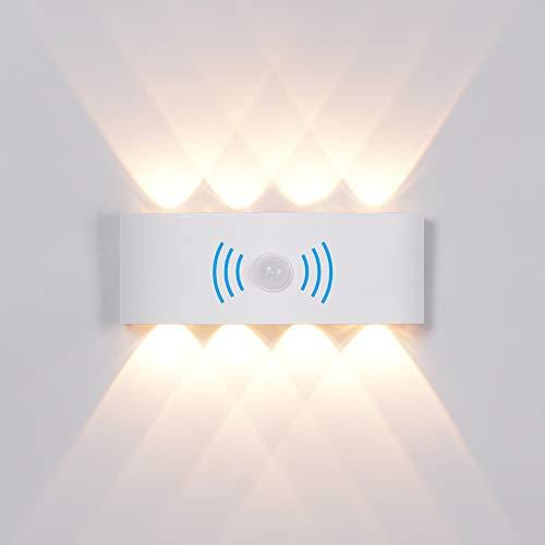 8W Wandleuchte Wandlampe mit Bewegungsmelder, LED Aussen Wandleuchte Wasserdichte IP65 Wandbeleuchtung Modern Up Down Aussenleuchte Aluminium Außenwandleuchten Wandlampe Innen/Aussen Warmweiß (Weiß)