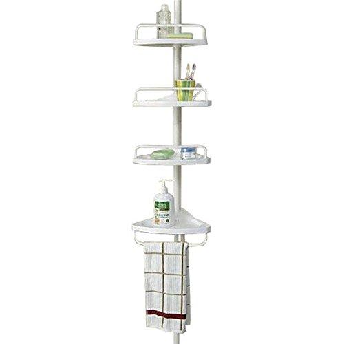 Estantería de ducha telescópica para colgar en la esquina, color blanco, para cocina, baño, 4 niveles