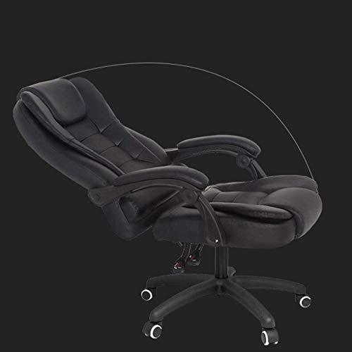 Silla de escritorio de oficina, ergonómica, giratoria y reclinable, patas de nailon y paquete de resorte, cojín de masaje, reposapiés elevador, silla de juegos de cuero para computadora (color: negro)