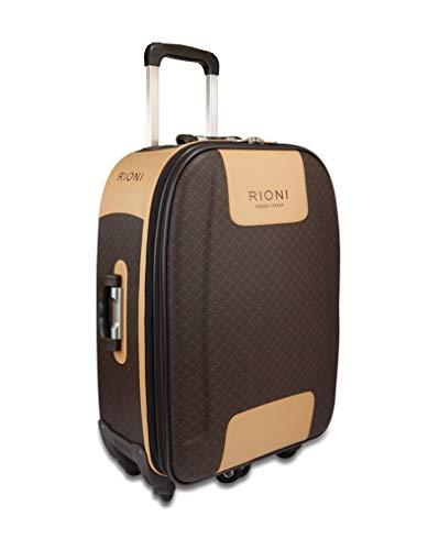 Signature Brown 360 Medium Luggage by Rioni Designer Handbags & Luggage