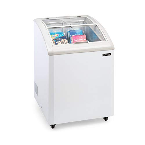 Klarstein Pro Eispalast, 100 litros, congelador con tapa corrediza de vidrio, catering, comercial, snack, pequeño, 60 x 91 x 67 cm, congelador, puerta corrediza de vidrio, 2 cestas colgantes, blanco