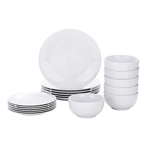 VEWEET Tafelservice, 18 teiliges Geschirrset aus Porzellan, Basic Serie, Mit je 6 Müslischale, Dessertteller und Flachteller, für 6 Personen