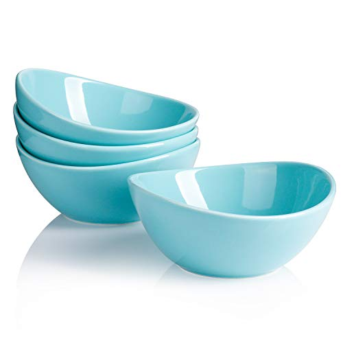 Sweese 101.402 Porcelain Bowls - 10 Ounce for Ice Cream Dessert, Small Side Dishes - Set of 4, Turquoise