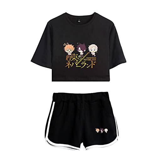 ZOSUO Mujeres Anime The Promised Neverland Camiseta y Pantalones Cortos de Verano...