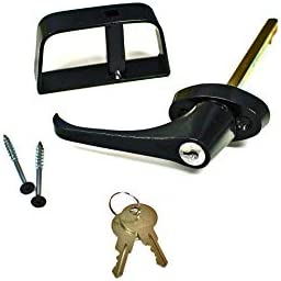 Doors Door Hardware 5 1 2 Black L Handle Door Lock Set For shed gate playhouse and more product image