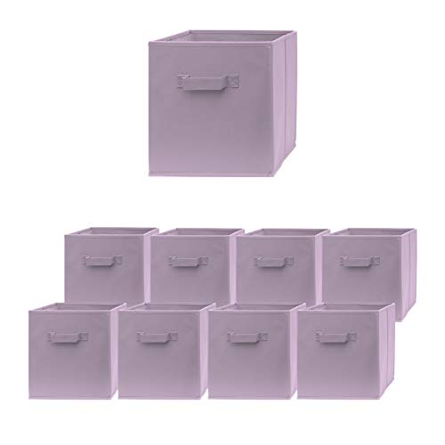 Pomatree Storage Cubes - 9 Pack - Durable and Sturdy Storage Bins with 2 Reinforced Handles | Fabric Cube Baskets for Organizing Closet, Clothes and Toys | Foldable Shelves Organizer (Purple)