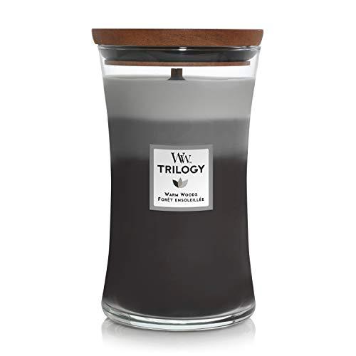 Woodwick Hourglass Trilogy Candela Profumata Grande con Stoppino Scoppiettante, Legno Caldo, Fino A 130 Ore, Cera, Multicolore, 10x10x18 cm