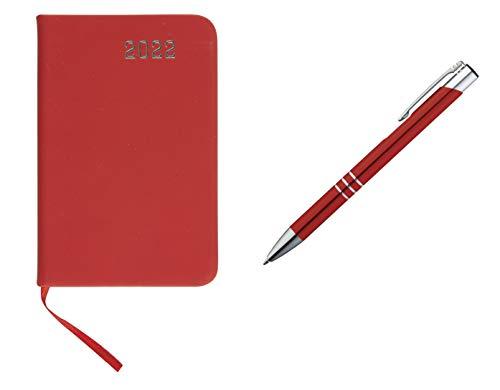 Taschenkalender 2022 / ca A7 / PU Einband / Farbe: rot + Metall Kugelschreiber