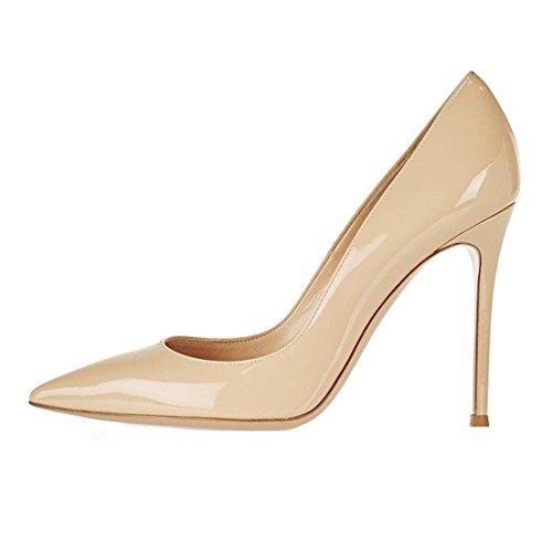 EDEFS - Scarpe col Tacco Donna - High Heels Sexy - Decolte Donna Tacco Alto - Tacchi a Spillo - Nude - Taglia EU35