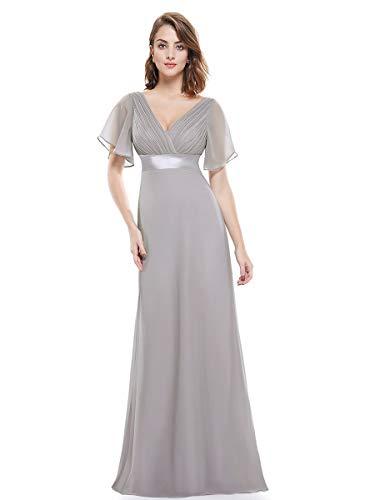 Ever-Pretty Damen Abendkleid Frau A-Linie Abschlusskleid V Ausschnitt Hochzeit lang Grau 54