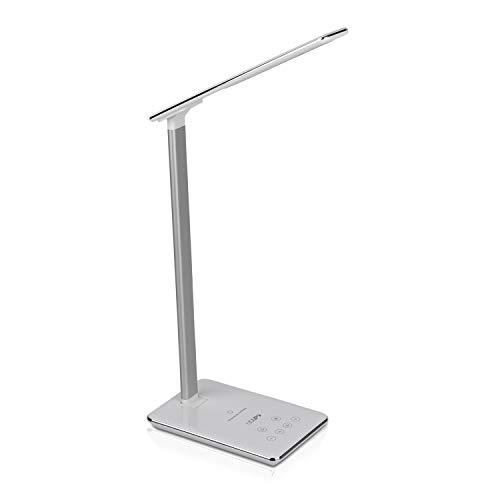 NGUP Lámpara LED Escritorio, Flexo Escritorio Con Cargador Qi Y USB, Lámparas De Mesita De Noche, Estudio U Oficina, 4 Temperaturas De Color, Intensidad Regulable Y Temporizador