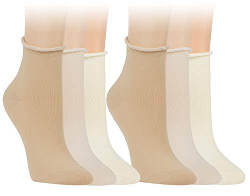 Vitasox 15266 Damen Socken Kurzsocken Rollrand einfarbig helle Natur-Töne 6 Paar 35/38