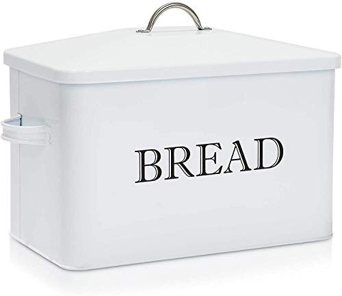 Extra Large Bread Box, Metal Distressed Bread Box with Lid, Holds 2 Loaves Bread Container for Farmhouse Kitchen Decor, Breadbox Bin for Kitchen Countertop, Bread Containers Loaf Storage, Rustic