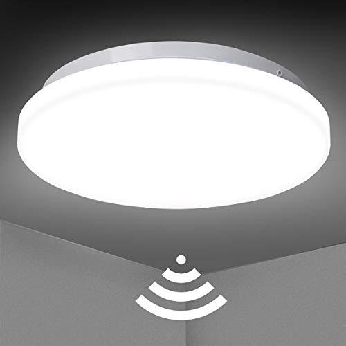LED Deckenleuchte mit Bewegungsmelder, SUNZOS 18W Deckenlampe 1800LM Sensorleuchte für Flur, Küche, Keller, Balkon, Abstellraum, Garage, Treppenhaus, Terrasse, Hauseingang, 4000K, Ø26cm