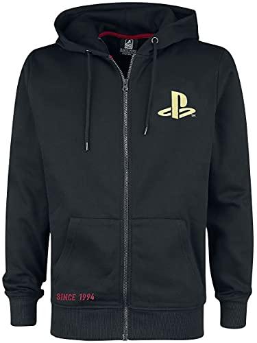 Playstation Since 1994 Hombre Sudadera con Capucha Negro S, 60% algodón, 40% poliéster, Regular