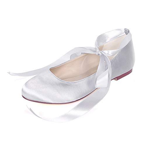 QXue Zapatos de boda para mujer, bailarina, cabeza redonda, planos, para bailar,...