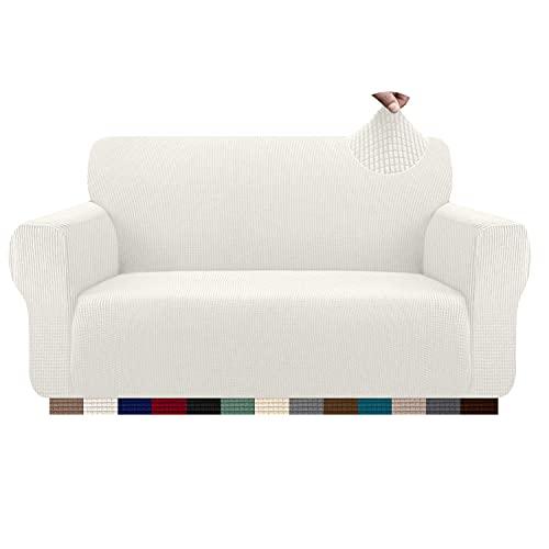 Granbest Funda de sofá elástica de 2 plazas para gatos y perros - Funda lavable de tejido jacquard (2 plazas), color blanco