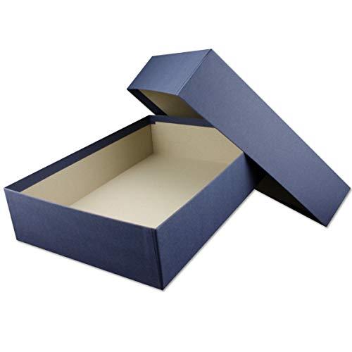 Hochwertige Aufbewahrungs- und Geschenkboxen - 1 Stück - DIN A4 - Dunkelblau (Blau) bezogen - 302 x 213 x 70 mm