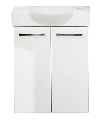 FACKELMANN LINO Gäste WC Badmöbel Set 2 Teile/Keramik Waschbecken/Waschbeckenunterschrank mit 2 Türen/hochwertiger Badschrank mit Soft-Close/Korpus: Weiß/Front: Weiß/Breite: 52 cm