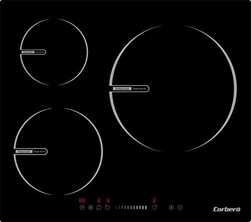 Corberó CCIBR6013 Placa de Inducción de 60 cms, 3 Zonas, Potencia 6600 W, Control Touch Slider, Zona Grande de 30 Cms, 3 Booster, 9 Niveles de Potencia, Temporizador de 99 min.