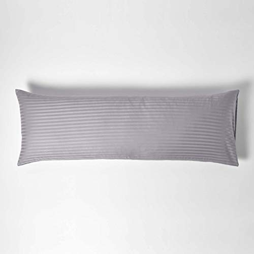 Homescapes Bezug für Seitenschläferkissen grau mit Satin-Streifen 50 x 140 cm – 100% Reine ägyptische Baumwolle, Fadendichte 330 – Kissenbezug für Lagerungskissen