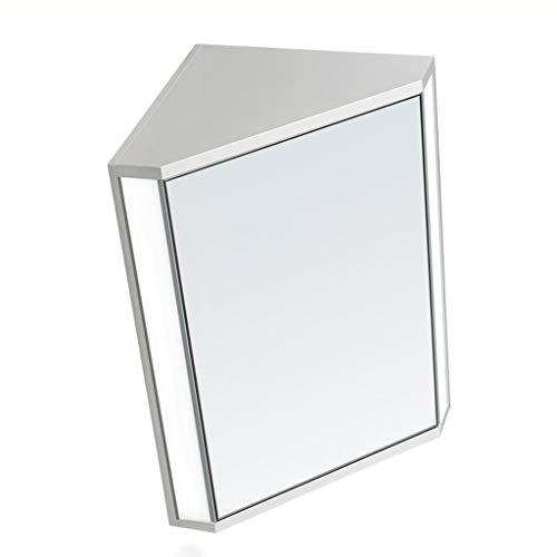 Haushalt Badezimmer Dreieckspiegelschrank Wand-Eckspiegelschrank mit Holzspiegelschrank mit Spiegelleuchte (Color : Weiß, Size : 47 * 60 * 33cm)