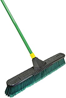 Quickie Bulldozer 24-Inch Multi-Surface Push Broom with Scraper, Green