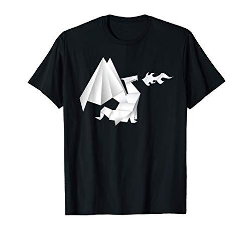 Papeles de origami plegados Dragón de fuego respirando Camiseta