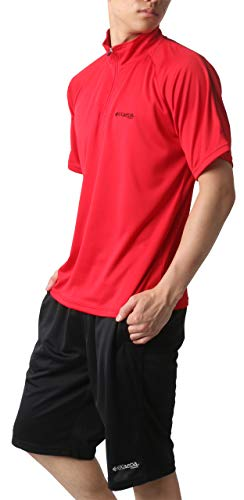 [ケイパ] ランニングウェア ジャージ メンズ 上下セット Tシャツ ボトム ショートパンツ レッド L