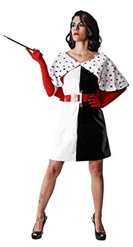 Gojoy shop- Disfraz de Cruela para Mujeres Halloween Canaval (Contiene Vestido, Guantes y Cinturón, Talla Unica)
