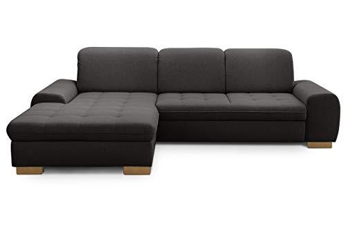 CAVADORE Sofaecke Lexi im Landhausstil / Sofa in L-Form mit XXL-Longchair links und Federkern / Inkl. Kopfteilverstellung / 275 x 82-99 x 173 / Flachgewebe: Grau