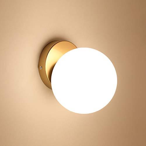 Goeco Applique da Parete Interno, Lampada da Parete Moderno 15cm, Plafoniera Creative Palla di vetro E27, per Camera da letto, Soggiorno