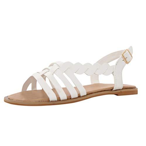 Damen Offene Sandalen Sommer Knöchelriemchen Schuhe Bohemia Plateau Sandaletten Krawatte Sommersandalen (EU:39, Weiß)