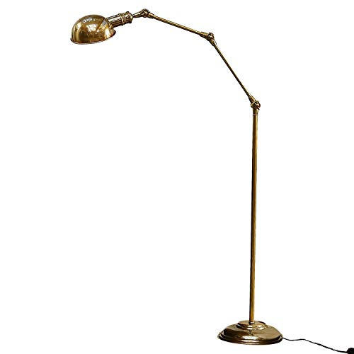 Loberon Stehlampe Tulsa, Messing, H/Ø 171/25 cm, messing, E27, max. 40 Watt, A++ bis E