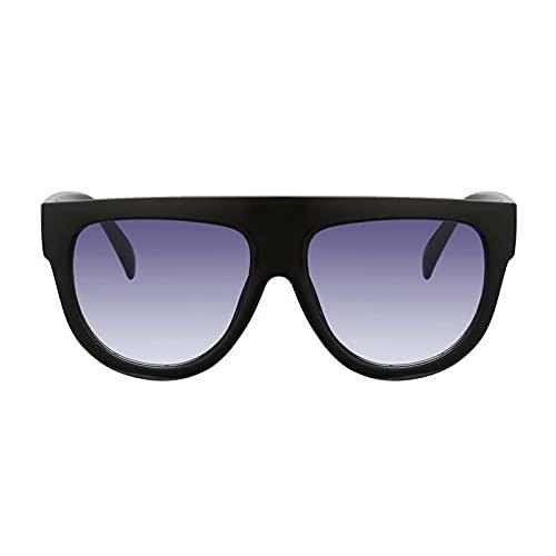 KURAZL Camiseta Plana Sobredimensionado señoras Gafas de Sol Retro Shield Forma diseño de Lujo Remache Sombra Gafas de Sol de señoras