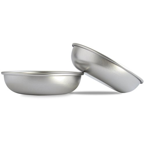 Basis Pet Made in The USA Low Profile Stainless Steel Cat Dish, 2 Pack
